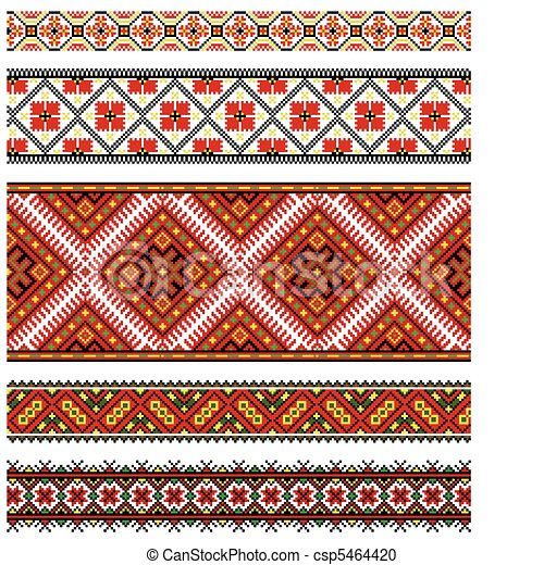 Ukrainian embroidery ornament - csp5464420