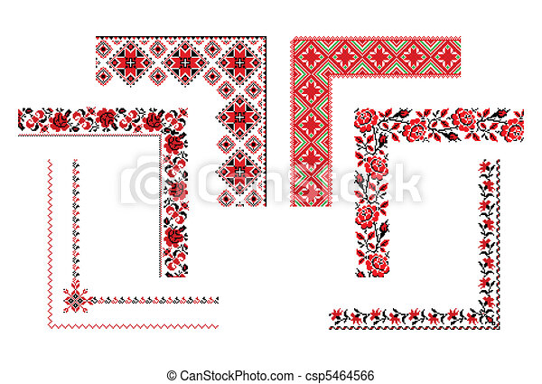 Ukrainian embroidery corners - csp5464566