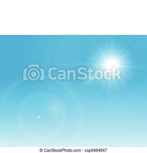 Vector sun on a clear blue sky - csp5464647