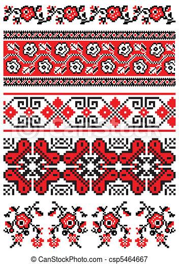 Ukrainian embroidery ornament - csp5464667