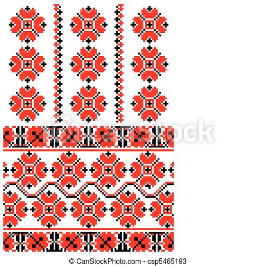 Ukrainian embroidery ornament - csp5465193