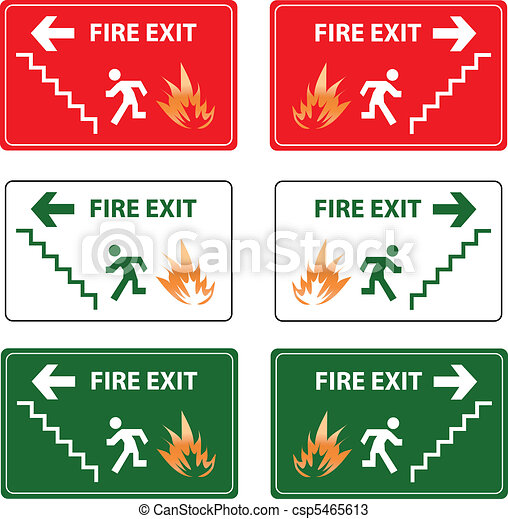 fire exit emergency sign - csp5465613