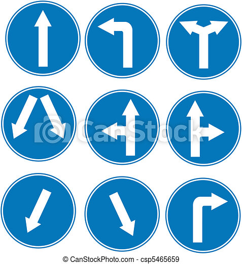 blue direction traffic sign - csp5465659