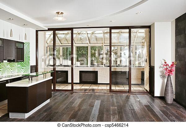 Stock foto van breed, hoek, kamer, houten, moderne, vloer, keuken ...