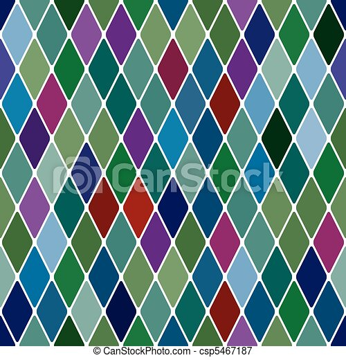 Harlequine Esmerald seamless pattern - csp5467187