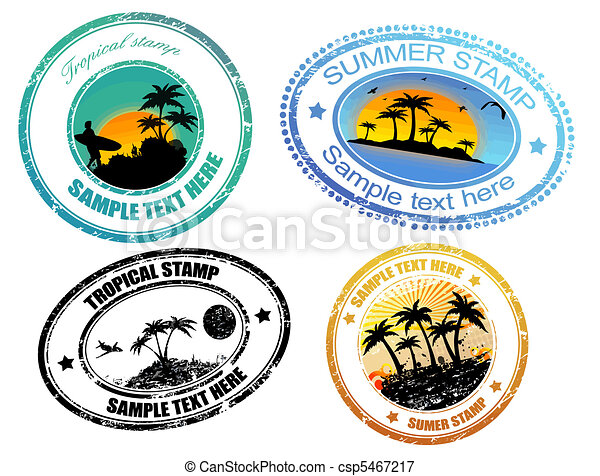 Tropical  summer stamps - csp5467217