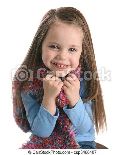 Cute preschool girl wearing a scarf - csp5468407
