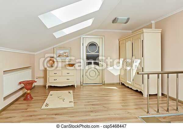 Plaatje van stijl deco kunst zolder licht moderne kleuren beige csp5468447 zoek - Deco kamer stijl engels ...