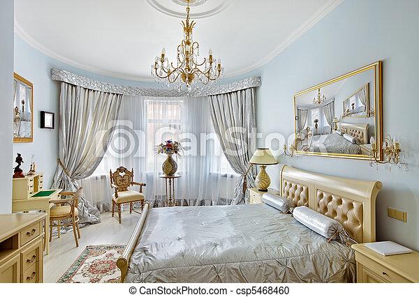 ... blauwe, stijl, classieke, Kleuren, Luxe, slaapkamer, Interieur, zilver