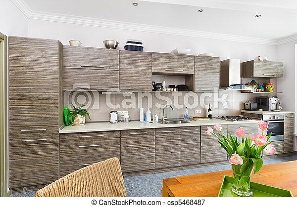 Plaatje van moderne minimalism stijl keuken interieur patterned csp5468487 zoek naar - Moderne keuken stijl fotos ...