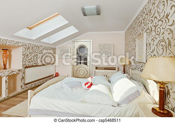 Stock fotografie van moderne kunst deco stijl slaapkamer interieur licht csp5468511 - Deco kamer stijl engels ...