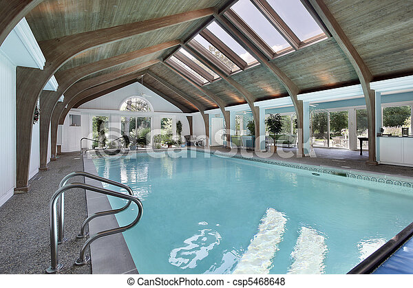 Indoor swimming pool with skylights - csp5468648