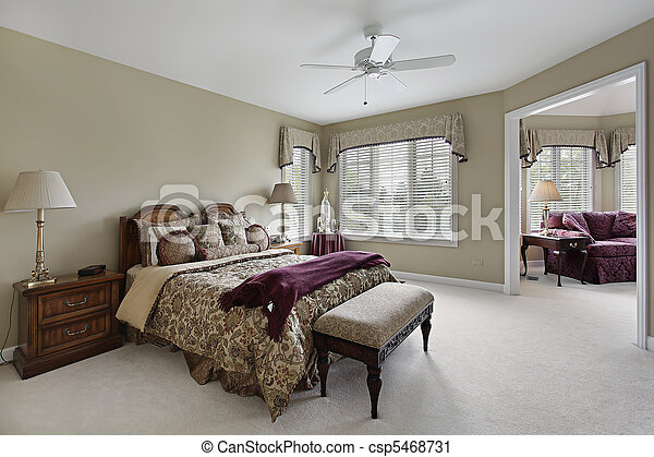 Master bedroom with adjacent sitting room - csp5468731