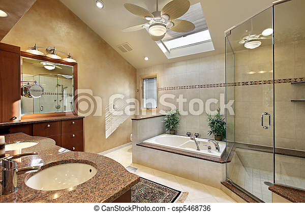 Modern master bath with skylight - csp5468736