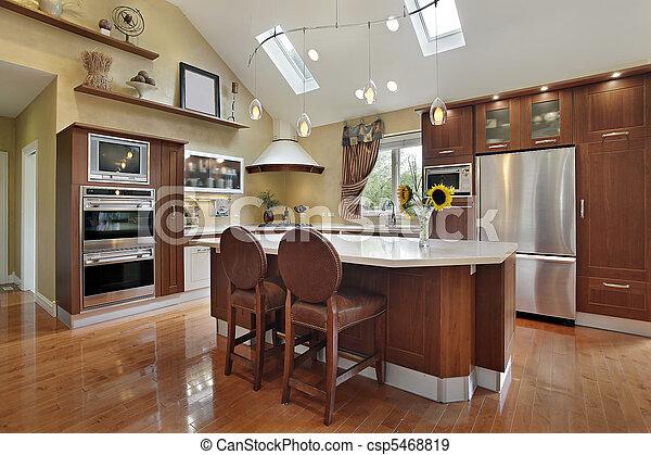 Stock fotografier af luksus, køkken, redwood, cabinetry, centrum ...
