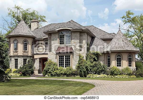 Luxury stone home with turret - csp5468913