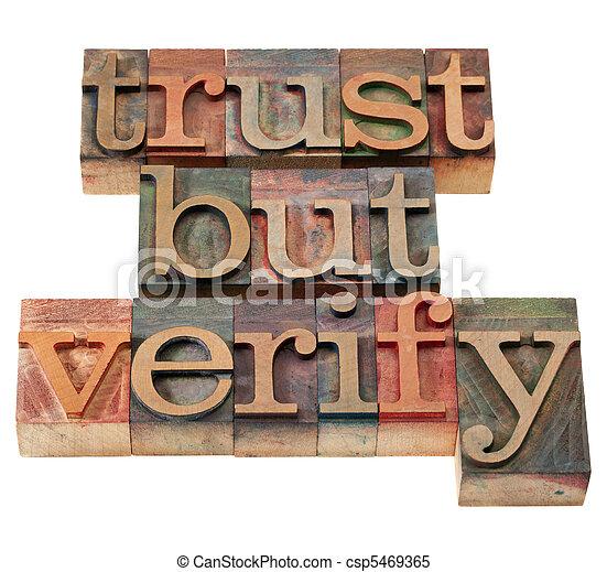 trust but verify phrase - csp5469365