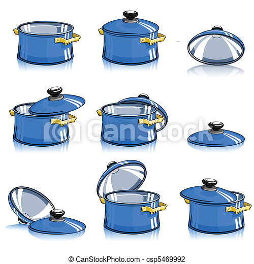 Vector Illustration of set of pans with lid vector illustration ...