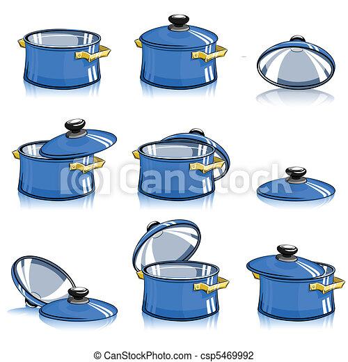 Illustration vecteur de casseroles couvercle ensemble - Casserole dessin ...