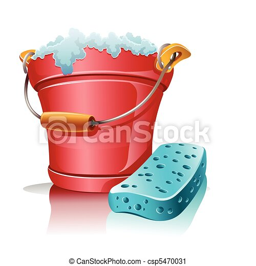 bucket with foam and bath sponge - csp5470031