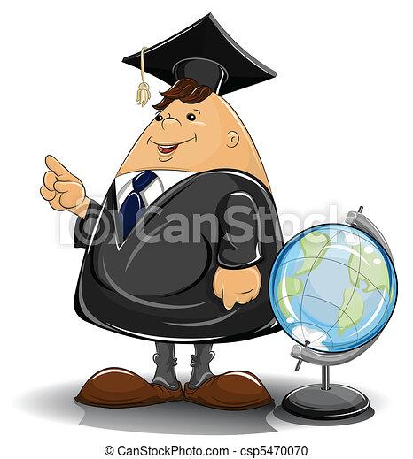 professor in cloak with globe - csp5470070