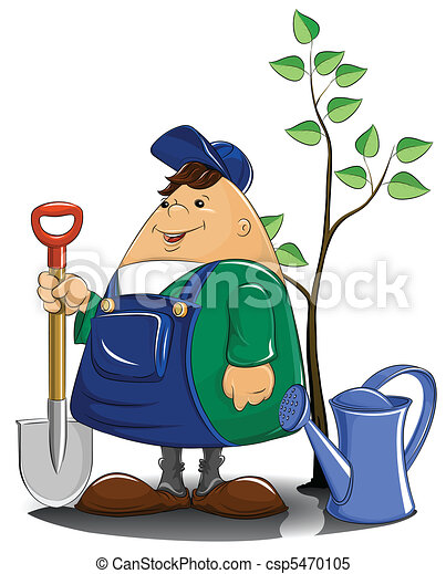 gardener with spade watering can and tree - csp5470105