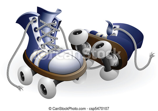 blue roller skates with untied lace - csp5470107