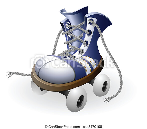 blue roller skates with untied lace - csp5470108
