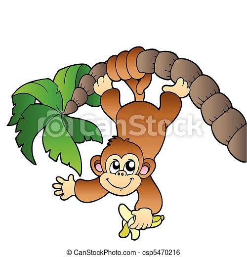 猴子, 悬挂, 手掌, 树, -, 矢量, 描述