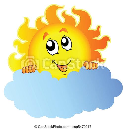 Cartoon Sun holding cloud - csp5470217