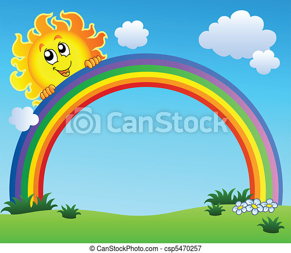 Sun holding rainbow on blue sky - csp5470257