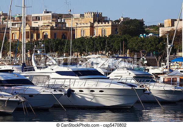 acostado, puerto, yates - csp5470802