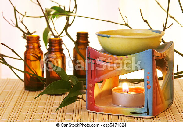 Aroma Oil Bowl and Bottles - csp5471024