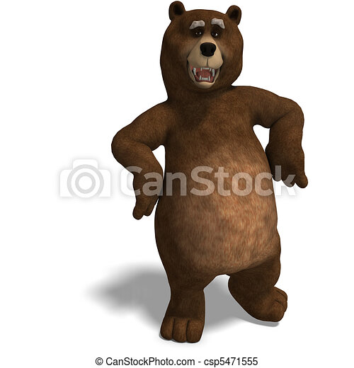 cute and funny toon bear. 3D rendering with  and shadow over white - csp5471555