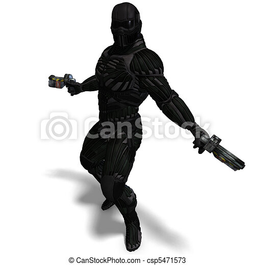 science fiction male character in futuristic suit. 3D rendering and shadow over white - csp5471573