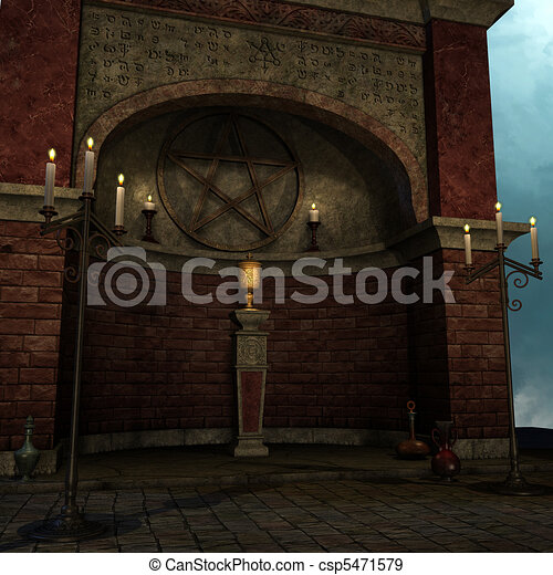 archaic altar or sanctum in a fantasy setting. 3D rendering of a fantasy theme. ideal for background usage. - csp5471579