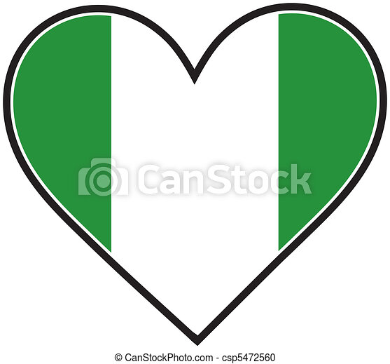 NIgeria Heart Flag - csp5472560