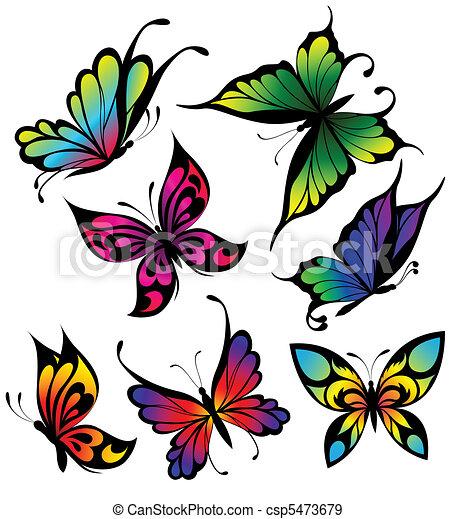 Vecteurs eps de tatouage couleur ensemble papillons vector ensemble csp5473679 - Papillon dessin couleur ...