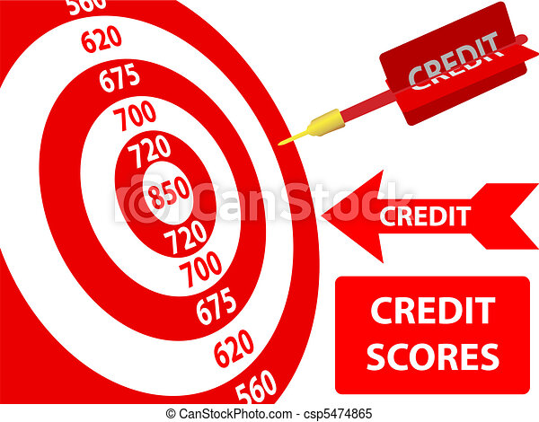 Credit Score improvement target card dart - csp5474865