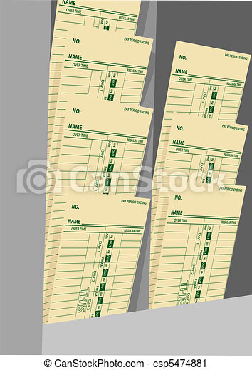 Timecards weekly wages time cards rack - csp5474881