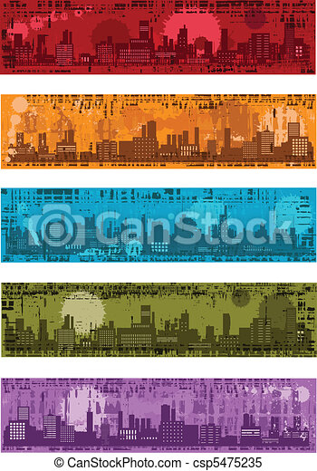 Set - vector grunge banners with towns - csp5475235