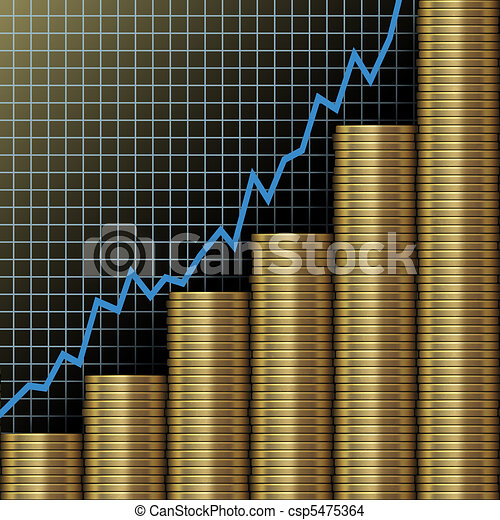 Investment growth wealth gold coins chart - csp5475364