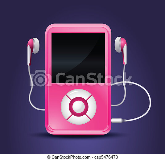 modern mp3 player with earphones - csp5476470