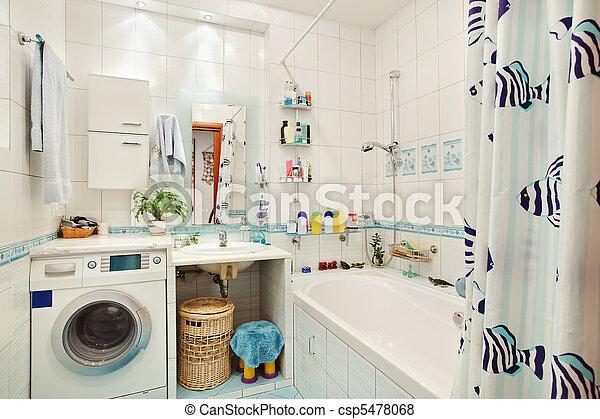 Immagini di moderno, piccolo, bagno, in, blu, colori, largo ...