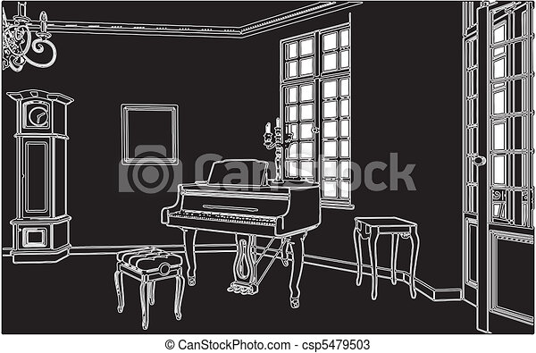 Living Room With Piano - csp5479503