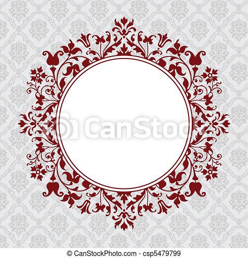 Vector Circle Floral Frame - csp5479799
