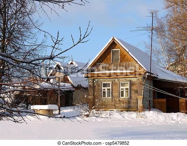 Photo De Hiver Bois Maison Pays Russia Paysage