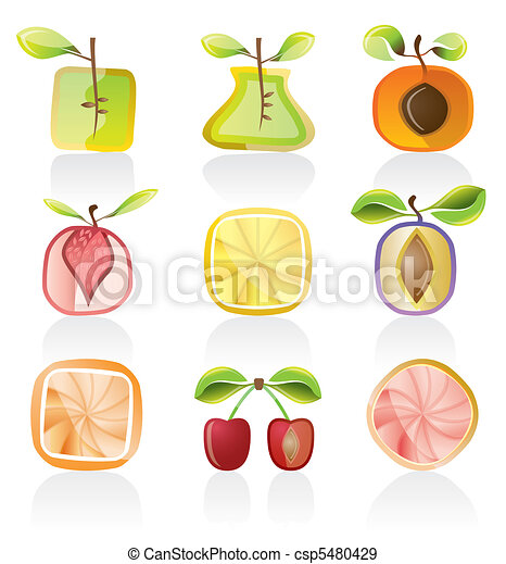 Abstract  fruit icons - csp5480429
