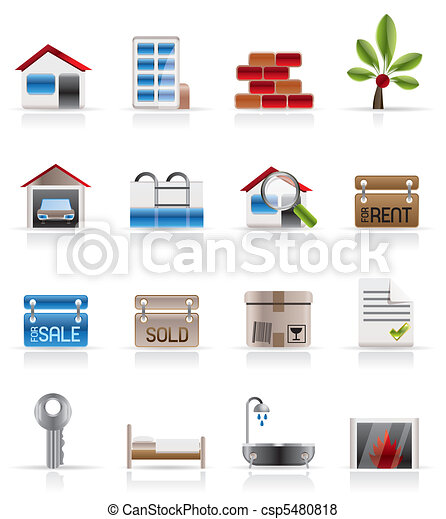 Realistic Real Estate icons - csp5480818