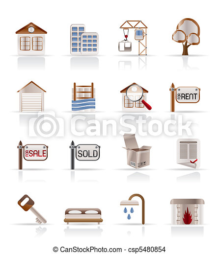Real  Estate and building icons - csp5480854